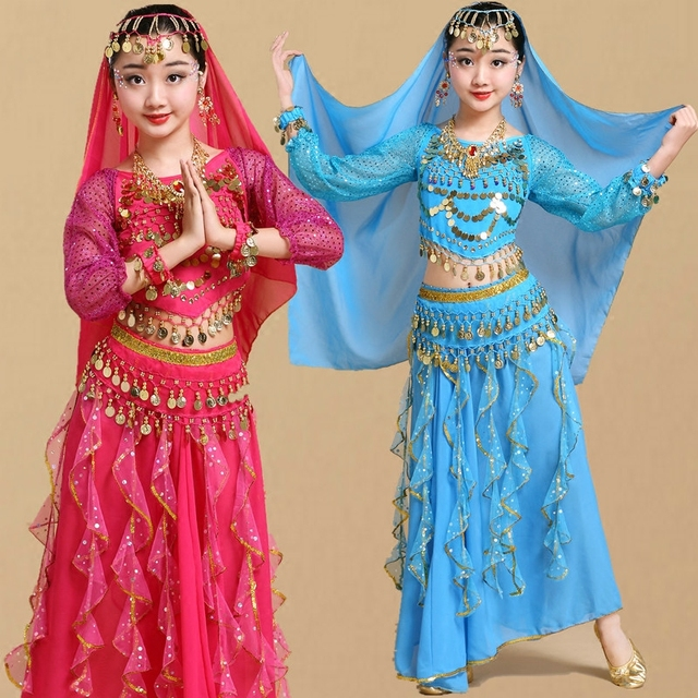 Trẻ em Cô Gái Trang Phục Múa Bụng Trẻ Em Trẻ Em Bụng Nhảy Múa Cô Gái Bollywood Ấn Độ Hiệu Suất Vải Thiết Lập Thủ Công Cô Gái Ấn Độ Quần Áo