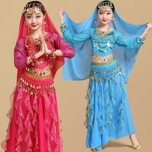 Çocuk Kız Oryantal Dans Kostümleri Çocuklar Oryantal Dans Kızlar Bollywood Hint Performans Bezi Seti El Yapımı Kız Hindistan Giyim