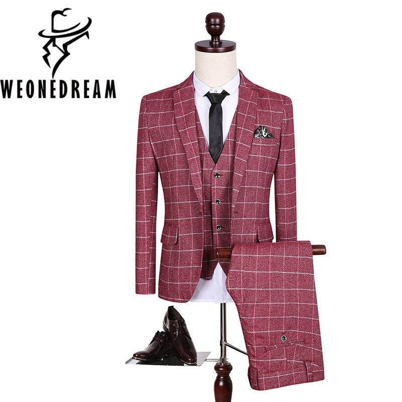 Chaquetas + Pantalones + chaleco 3 piezas 2018 hombres traje de lino ...