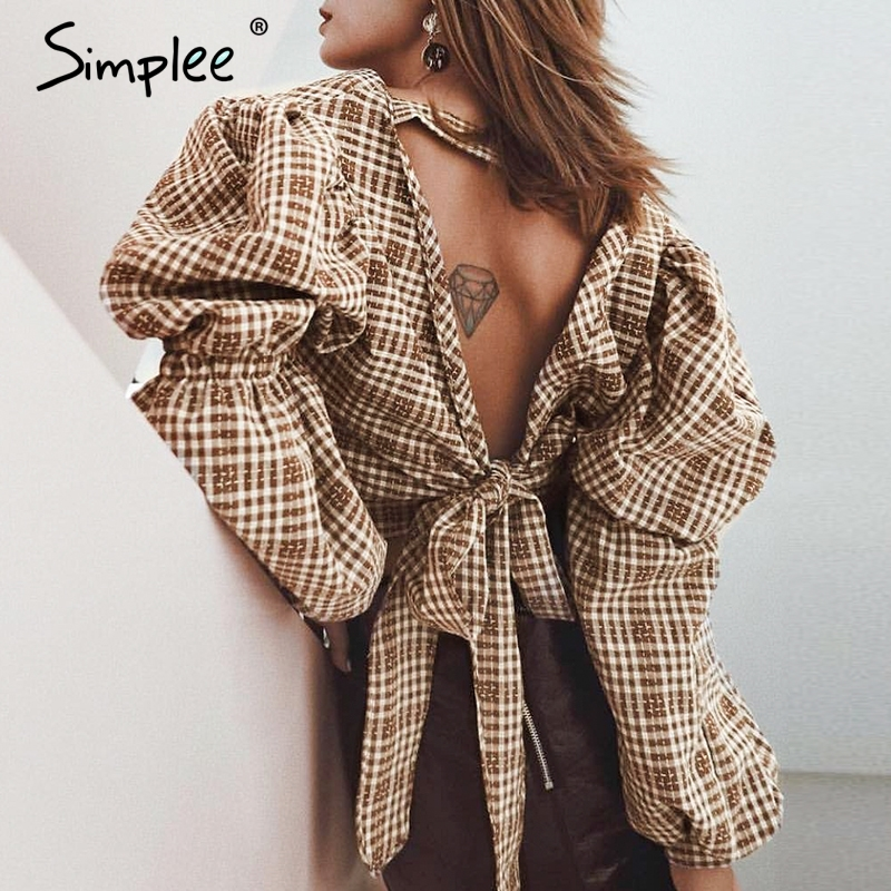 Simplee Vintage plaid   shirt   women   blouse   Sexy backless lace up female top   shirt   Autumn puff sleeve oversize ladies   blouse     shirt