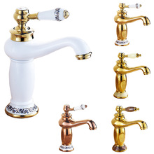 Free Shipping Short Brass Basin Sink Faucet Deck Mount Single Lever Bathroom Lavatory Sink Taps with