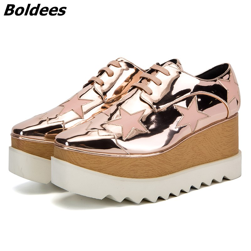 Spring Summer Champagne Star High Platform Shoes Lace-up Casual Sponge Shoes For Women height Increasing shoes