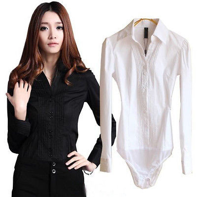2016 Women Sexy Slim V Neck Office Shirts Bodysuit Long Sleeve OL Shirt Blouse Top for Girls Clothes