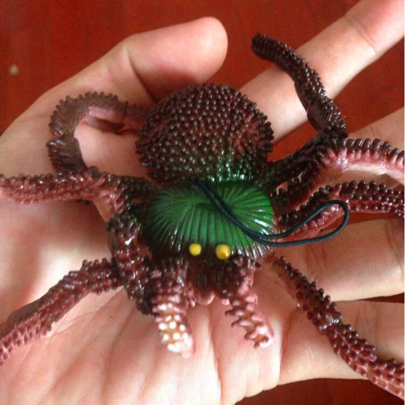 Simulation Spider Toy Soft rubber Imitate Spider Funny tricky brains Toy Prank horror Toys for Halloween Decoration Party Props