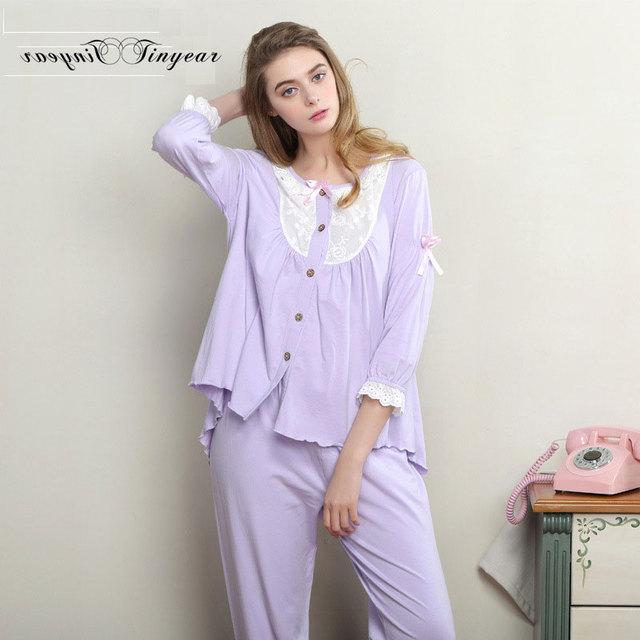 Tinyear novo pijama de algodão adulto menina oco out lace rodada pescoço desgaste do sono para as mulheres respirável 3 cores pijama M-XL feminino