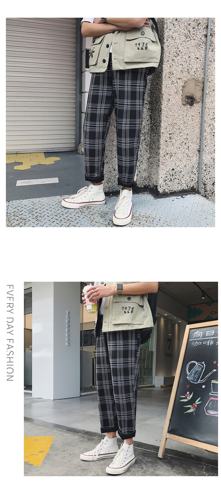 HTB1DzqnbEjrK1RkHFNRq6ySvpXaK LAPPSTER Streetwear Yellow Plaid Pants Men Joggers 2019 Man Casual Straight Harem Pants Men Korean Hip Hop Track Pants Plus Size