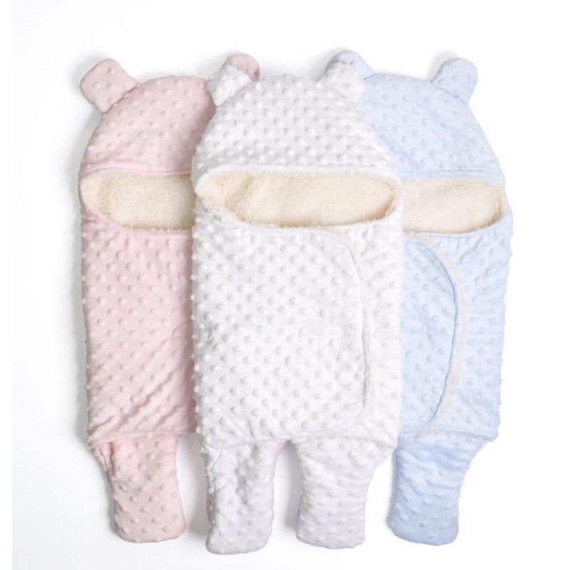 2018 hiver bébé couverture enveloppe lange d'emmaillotage corail polaire nouveau-né dormeur infantile poussette Wrap bambins bébé emmaillotage sac
