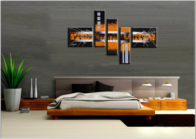 Large hand painted modern wall art picture for living room - Black and orange living room ideas ...