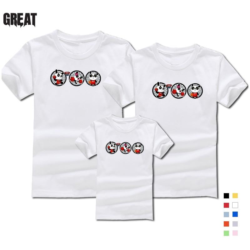 2019 Famiglia Di Estate Manica Corta T-shirt Panda Gigante Modello Carino Ragazzi E Ragazze T-shirt Famiglia T-shirt Liberi Di Trasporto Merci Ultimo Stile