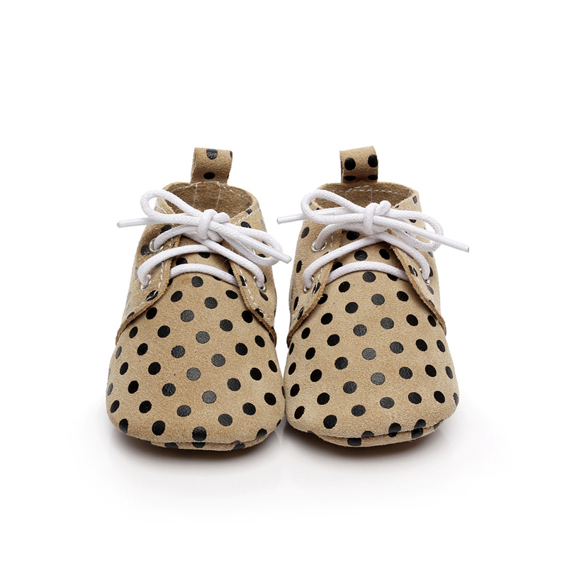1Pair Cute Baby First Walkers Black Polka Dot Khaki Soft Leather Shoes Lace-up Fashion Non-slip Footwear Crib Shoes All Seasons soft soled walkers baby soft bottom anti slip elastic band cotton cute sole toddler shoes quality baby shoes 70a1077