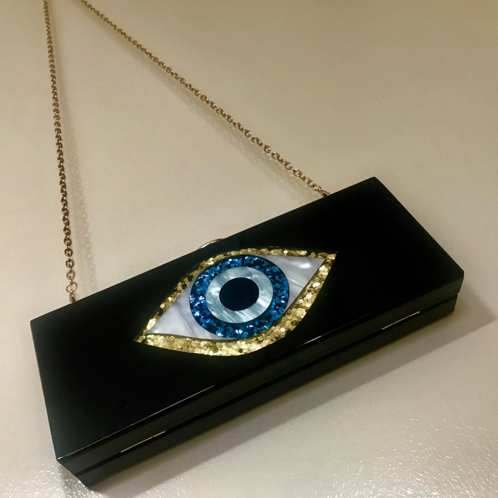Solid Black Patchwork Glitter Evil Eye  Acrylic PVC Plastic Box Clutches Summer Beach Travel Evening Handbags Women Acrylic Bags