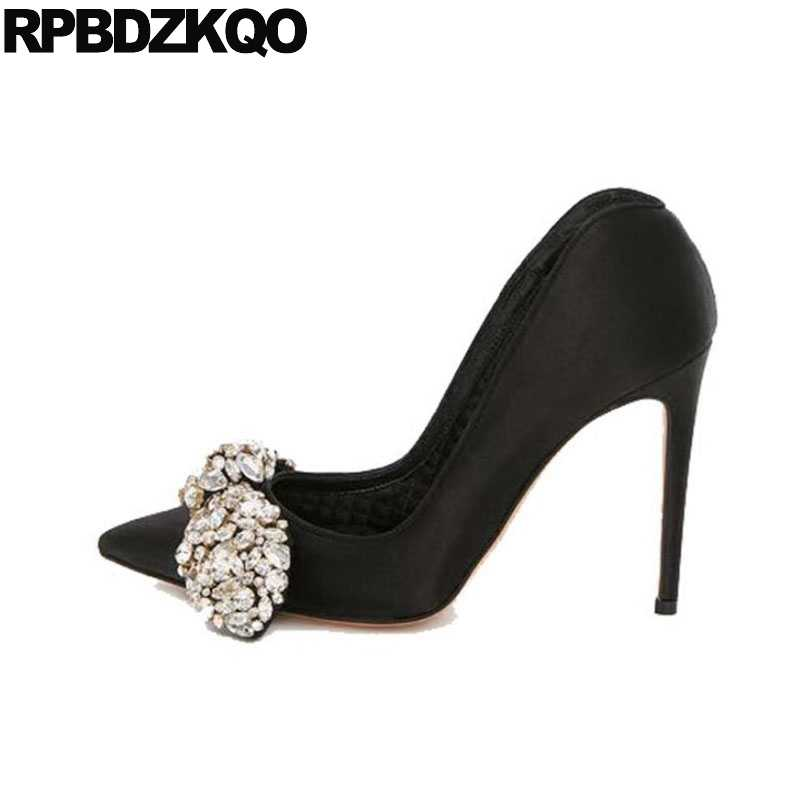 Evening Pumps High Heels Black Pointed Toe Diamond Party Sexy Women Shoes  Rhinestones Bow Satin Stiletto d7f49bd2278e