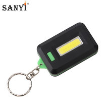 Red/Green COB LED Flashlight Light 3-Mode Mini Lamp Key Chain Ring Keychain Lamp Torch Keyring Pocket Emergency Light AAA(China)