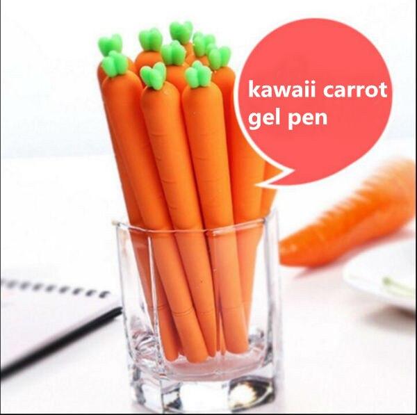 6 pcs/lot Cute Carrot Gel Pen Creative Stationery Items Offis