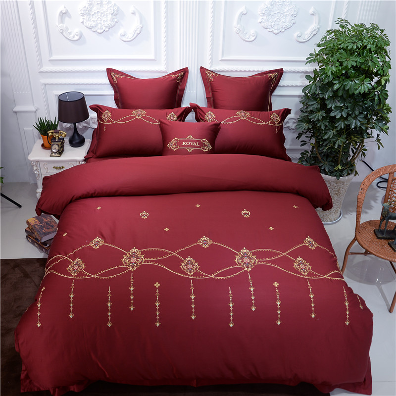 Super King Size Duvet Cover Egyptian Cotton Sweetgalas: 4/7pcs Luxury Wedding Royal Bedding Sets King Size Bed Set