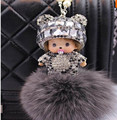2017 Monchichi keychain 8 rabbit fur pom pom  cute Crystal new year gift  Dolls Christmas Key chain Women bag car charm pendant