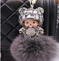 2017 Monchichi keychain 8 rabbit fur pom pom  cute Crystal new year gift  Dolls Christmas Key chain Women bag car charm pendant
