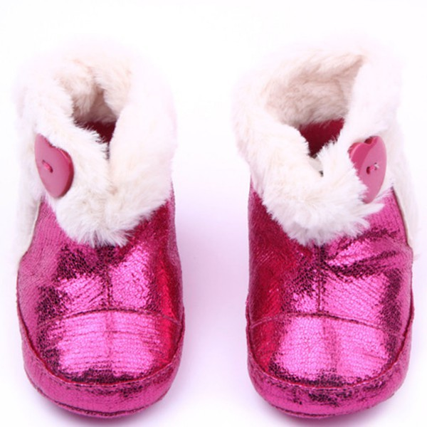 Newest Baby Infant Girls PU Leather Booties Winter Warm Furry Soft Todder Boots Shoes