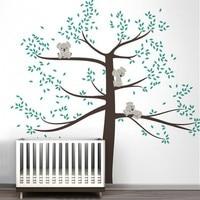 Large Size Wall Stickers Tree For Kids Room Baby Nursery Koala Tree Wall Art Decal High Quality Custom Color Wall TattooD503B