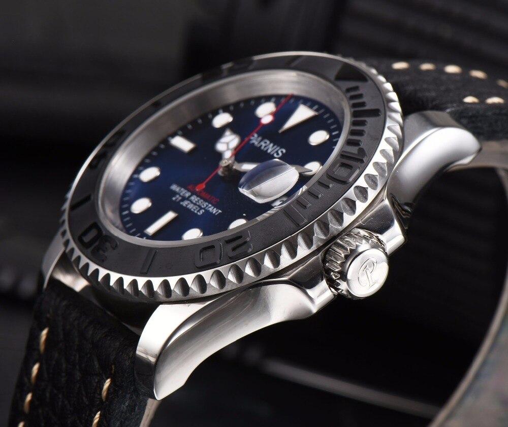 Parnis Automatische Horloge Diver Miyota 8215 Mechanische Horloges Saffier mekanik erkek kol saati reloj automatico Mannen-in Mechanische Horloges van Horloges op  Groep 3