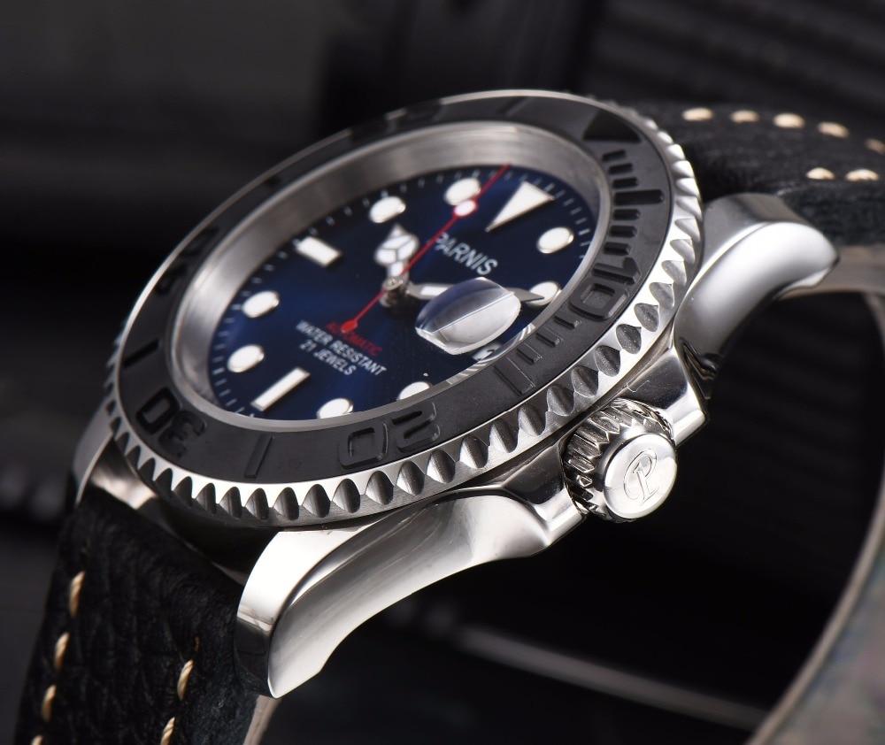 Parnis reloj automático buzo Miyota 8215 relojes mecánicos zafiro mekanik erkek kol saati reloj automatico hombres-in Relojes mecánicos from Relojes de pulsera    3