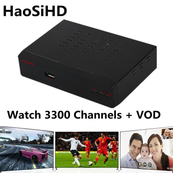 Arabe iptv box Stable serveur TV récepteur avec IPTV 1 an abonnement gratuit 3300 + arabe espagne France chs et VOD films