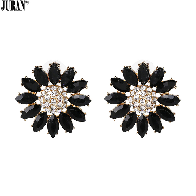 Juran Black White Crystal Daisy Stud Earrings For Women Exquisite Statement Flower Lady Fashion Jewelry
