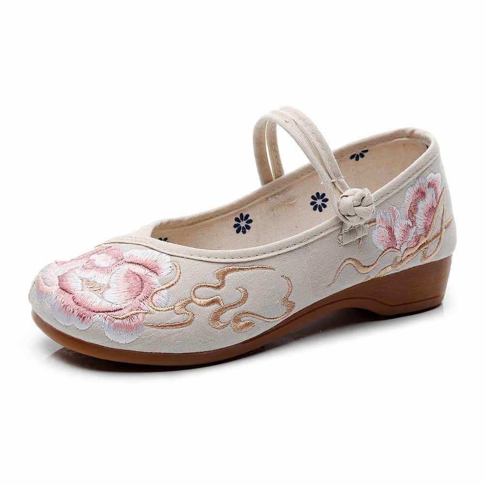 Veowalk Dạ Nỉ Cotton Thêu Nữ Mềm Mại Ba Lê Đế Đế Mềm Sang Trọng Dép Nữ Dây Đeo Ballerinas Trung Quốc Phong Cách