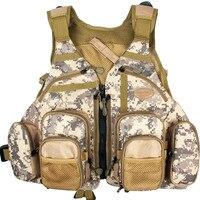 Fly Fishing Vest Bag Pack Adjustable Size Fishing Vest Camo Fly Fishing Vest Multi Pocket Sports