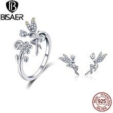 925 Sterling Silber Fliegen Wald Fee Stud Ohrring und Finger Ringe Schmuck Sets für Frauen Mode Schmuck Bijoux ZHS100