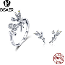 925 Sterling Silver Flying Forest Fairy Stud Earring and Finger Rings Jewelry Sets for Women Fashion Jewelry Bijoux ZHS100