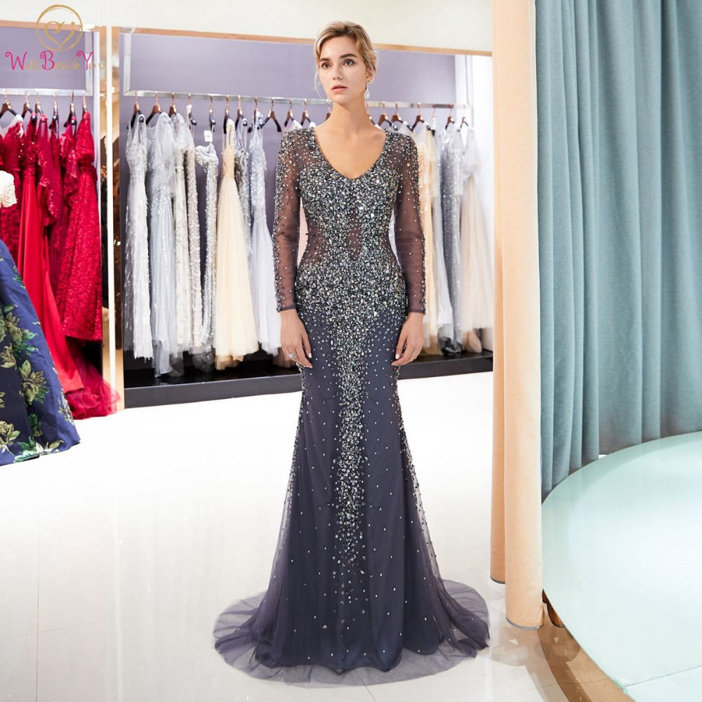 Dark Gray Evening Dresses Walk Beside You Deep V-neck Long Sleeve Mermaid Beaded Crystal Hand Working Prom Gowns Long Party 2020