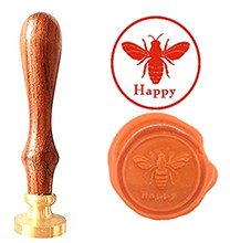 Bee Happy Vintage Custom Picture Logo Luxury Wax Seal Sealing Stamp Brass Peacock Metal Handle Gift Set