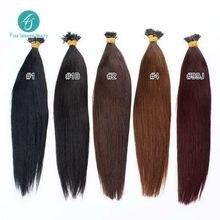 Brasileño extensión del pelo I-Tip extensiones de cabello de colores 100 anillos / porción brasileña del pelo recto viene en 10 colores de pelo