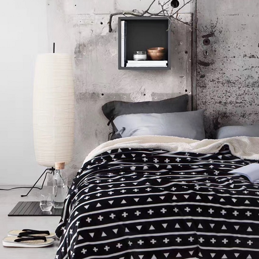 Bedding all seasons nordic black ultrasoft thicken cotton blending blanket 150*200cm wearable comforter ,bed cover, pet blanket double sides reversible mysterious style blanket 130 160cm durable wearable comforter sofa cover cloth pet blankets floor mat