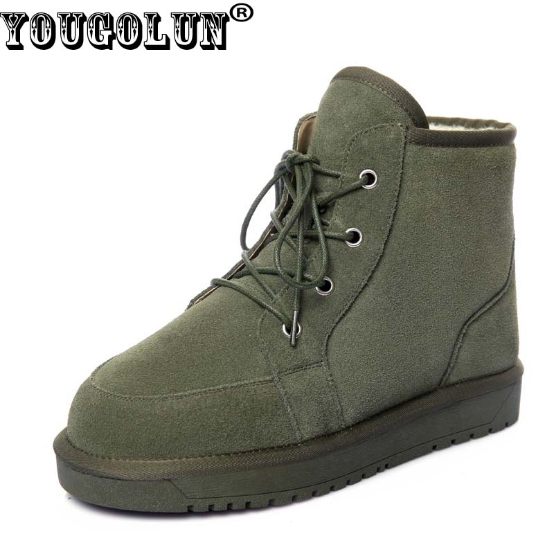 YOUGOLUN Winter Women Snow Ankle Boots Genuine Cow Suede Lace Up Green Black Flat Boots 30% Warm Wool Long Plush Shoes #Y-256