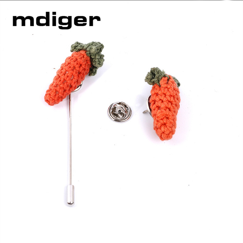 Mdiger Cute Cartoon Carrot Collar Pin for Men Suit Sweater Wool Brooch Short Pin Shirt Collar Pin Designer Fashion Brooches