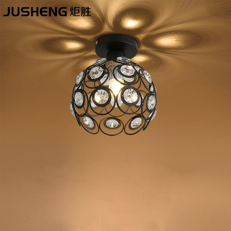Luxurious crystal ceiling lamp with E27 Socket fashionable black/white iron restaurant balcony study corridor hall lighting