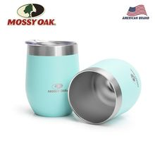 MOSSY OAK 2-Pack Vacuum Insulated Wine Tumbler - 12 Oz Stainless Steel Stemless Metal Cup for Drinks Champagne Cocktails