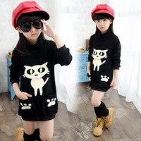 Ubrania dla dzieci Koreański Styl Casual Dziewczyny T-shirt Moda Charakter Kot Wzór Z Długim Rękawem T Shirt Dla Dzieci Odzież Dla Dzieci T Shirt