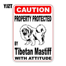 YJZT 10*14.2CM Property Protected By Tibetan Mastiff Dog Creative Fashion PVC Material Car Sticker C1-4771(China)