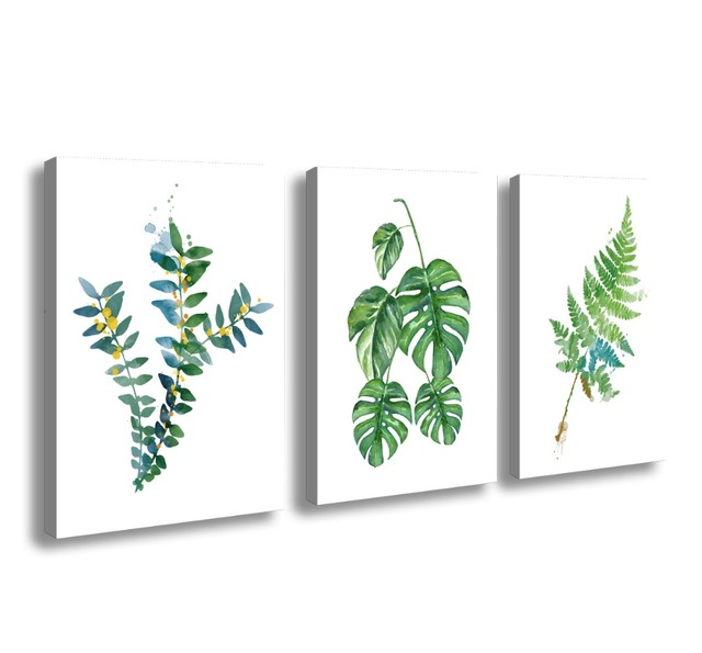 3 Panels Canvas Art Simple Life Green Leaf Painting Wall Pictures Paint On For Home Kitchen Decorative