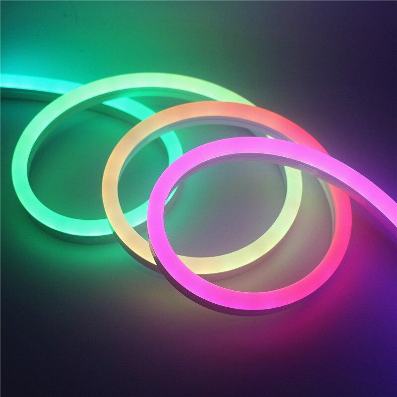 Pixel adressable à télécommande sans fil d'intense luminosité imperméable WS2812 néon coloré 5m 12V WS2811 LED éclairage de bande de néon