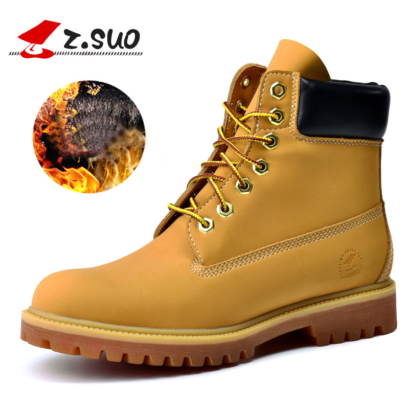 z.suo 2018 Designer Luxury Brand Plush Fur Retro Mens Boots Warm Winter Casual Lace-Up Shoes Fashion Yellow Men Boots size 39-45