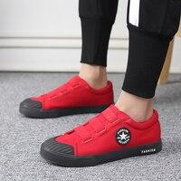 2018 Summer Men Vulcanized Shoes hook&loop Walking Footwear Lightweight Canvas Casual Shoes Men Sneakers for Outdoor