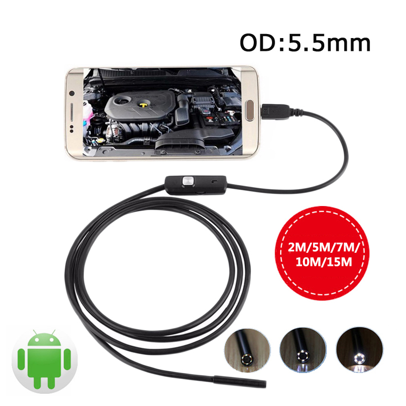 5.5mm Endoscope Android USB Camera Endoscope OTG USB Phone Borescope Waterproof Endoscopio Cable Pipe Tube Snake Camera Wistino 2m mini android usb endoscope camera 5 5mm lens snake tube waterproof android phone otg usb endoscope borescope camera 6pcs led