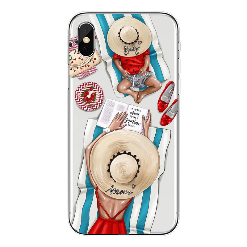 Fashion Black Brown Hair Baby Mom Girl Queen Case For iPhone X XR XS MAX 5 5S SE 6 6s 7 8 Plus soft silicone Woman Phone Cover in Fitted Cases from Cellphones Telecommunications