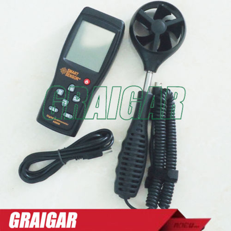 цена на Free Shipping Smart Sensor AS856 handheld Digital anemometer wind speed meter wind direction