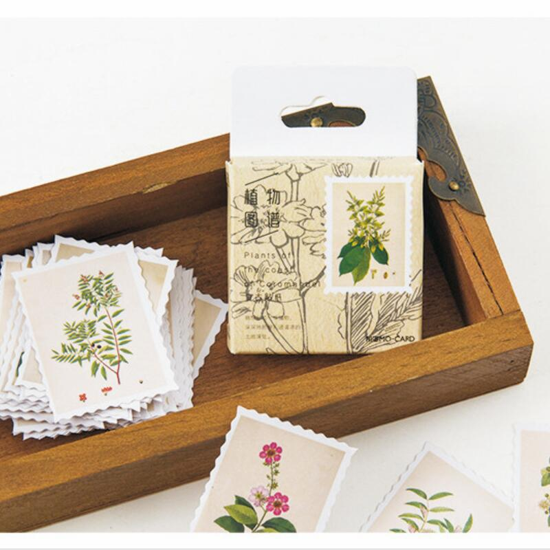 20boxes/lot Vintage Plants Series DIY Diary Album Notebook Decoration Label Sticker Self-adhesive Scrapbooking Gifts For Kids