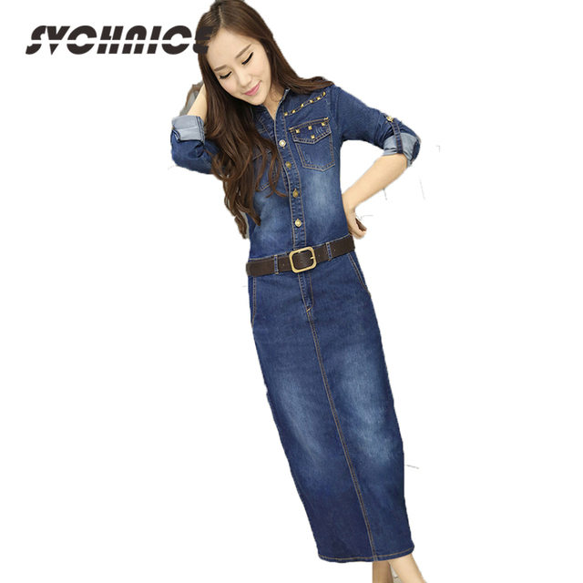 Vintage Winds Denim Dress Womens Clothing China Big Discount Casual Autumn  Cowboy Dress Blue Long Jeans Dresses Women Blue 267dabb22163